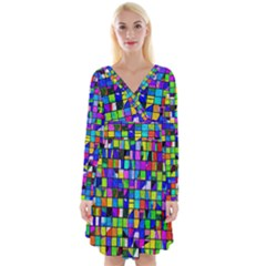 Colorful Squares Pattern                                Long Sleeve Front Wrap Dress
