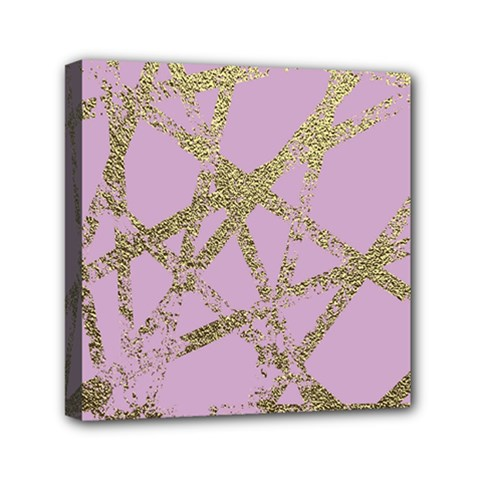 Modern,abstract,hand Painted, Gold Lines, Pink,decorative,contemporary,pattern,elegant,beautiful Mini Canvas 6  X 6  by 8fugoso