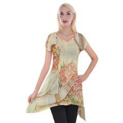 Beautiful Art Nouveau Lady Short Sleeve Side Drop Tunic by 8fugoso