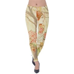 Beautiful Art Nouveau Lady Velvet Leggings by 8fugoso