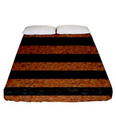 Stripes2 Black Marble & Rusted Metal Fitted Sheet (king Size) by trendistuff