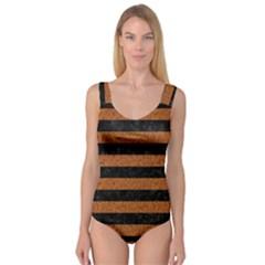 Stripes2 Black Marble & Rusted Metal Princess Tank Leotard  by trendistuff