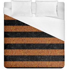 Stripes2 Black Marble & Rusted Metal Duvet Cover (king Size) by trendistuff
