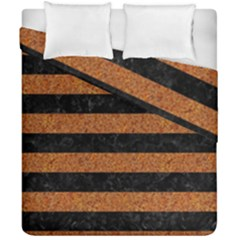 Stripes2 Black Marble & Rusted Metal Duvet Cover Double Side (california King Size) by trendistuff