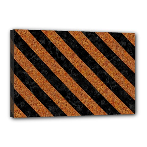 Stripes3 Black Marble & Rusted Metal Canvas 18  X 12  by trendistuff