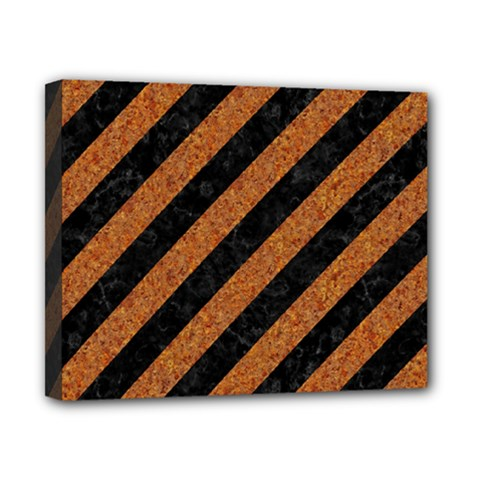 Stripes3 Black Marble & Rusted Metal (r) Canvas 10  X 8  by trendistuff