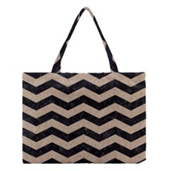 Chevron3 Black Marble & Sand Medium Tote Bag by trendistuff