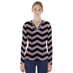 Chevron3 Black Marble & Sand V Neck Long Sleeve Top