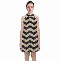 Chevron3 Black Marble & Sand Velvet Halter Neckline Dress