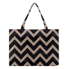 Chevron9 Black Marble & Sand (r) Medium Tote Bag by trendistuff