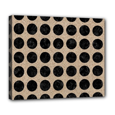 Circles1 Black Marble & Sand Deluxe Canvas 24  X 20   by trendistuff