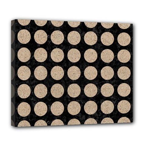 Circles1 Black Marble & Sand (r) Deluxe Canvas 24  X 20   by trendistuff
