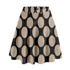 Circles2 Black Marble & Sand (r) High Waist Skirt by trendistuff