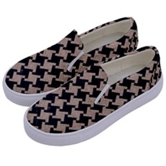 Houndstooth2 Black Marble & Sand Kids  Canvas Slip Ons by trendistuff