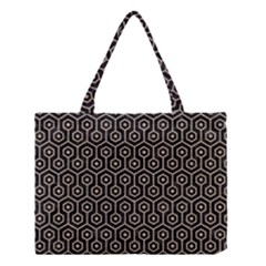 Hexagon1 Black Marble & Sand (r) Medium Tote Bag by trendistuff
