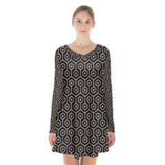 Hexagon1 Black Marble & Sand (r) Long Sleeve Velvet V Neck Dress