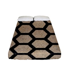 Hexagon2 Black Marble & Sand Fitted Sheet (full/ Double Size) by trendistuff