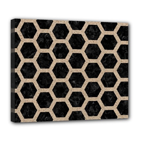 Hexagon2 Black Marble & Sand (r) Deluxe Canvas 24  X 20   by trendistuff