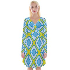Blue Rhombus Pattern                                   Long Sleeve Front Wrap Dress