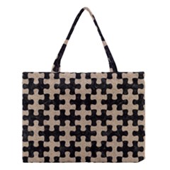 Puzzle1 Black Marble & Sand Medium Tote Bag by trendistuff