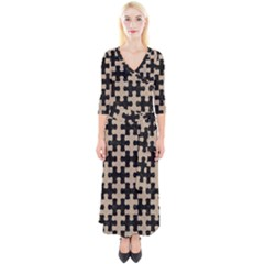 Puzzle1 Black Marble & Sand Quarter Sleeve Wrap Maxi Dress