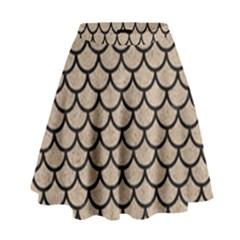 Scales1 Black Marble & Sand High Waist Skirt by trendistuff
