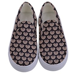 Scales3 Black Marble & Sand Kids  Canvas Slip Ons