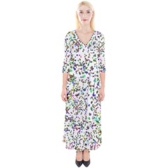Paint On A White Background                                  Quarter Sleeve Wrap Maxi Dress