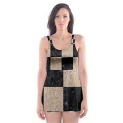 Square1 Black Marble & Sand Skater Dress Swimsuit