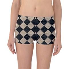 Square2 Black Marble & Sand Reversible Boyleg Bikini Bottoms