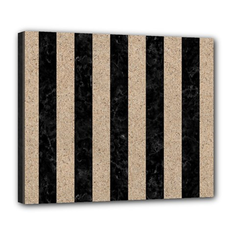 Stripes1 Black Marble & Sand Deluxe Canvas 24  X 20   by trendistuff