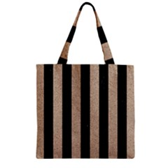 Stripes1 Black Marble & Sand Zipper Grocery Tote Bag by trendistuff