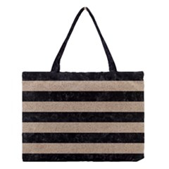 Stripes2 Black Marble & Sand Medium Tote Bag by trendistuff
