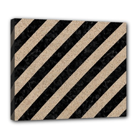 Stripes3 Black Marble & Sand (r) Deluxe Canvas 24  X 20   by trendistuff