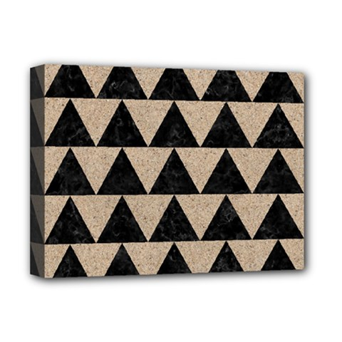 Triangle2 Black Marble & Sand Deluxe Canvas 16  X 12   by trendistuff