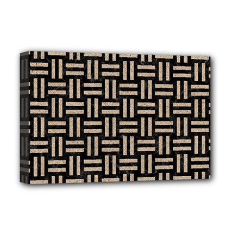 Woven1 Black Marble & Sand (r) Deluxe Canvas 18  X 12   by trendistuff