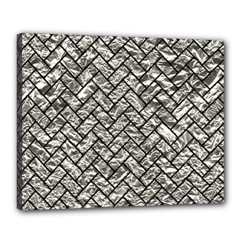 Brick2 Black Marble & Silver Foil Canvas 20  X 16  by trendistuff