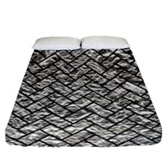 Brick2 Black Marble & Silver Foil Fitted Sheet (queen Size) by trendistuff