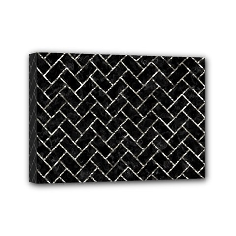 Brick2 Black Marble & Silver Foil (r) Mini Canvas 7  X 5  by trendistuff
