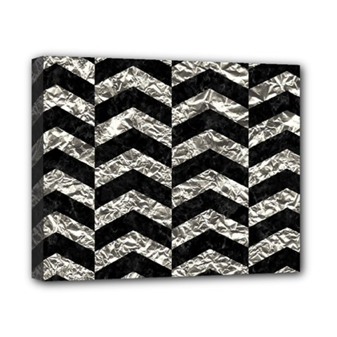 Chevron2 Black Marble & Silver Foil Canvas 10  X 8  by trendistuff