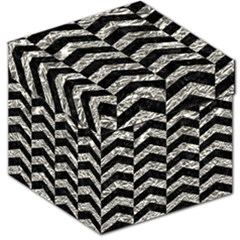 Chevron2 Black Marble & Silver Foil Storage Stool 12   by trendistuff