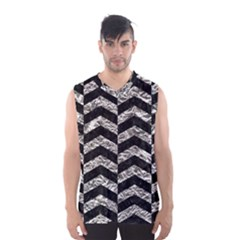 Chevron2 Black Marble & Silver Foil Men s Basketball Tank Top