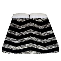 Chevron3 Black Marble & Silver Foil Fitted Sheet (queen Size) by trendistuff