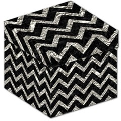 Chevron9 Black Marble & Silver Foil (r) Storage Stool 12   by trendistuff