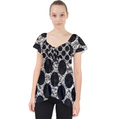 Circles2 Black Marble & Silver Foil Lace Front Dolly Top