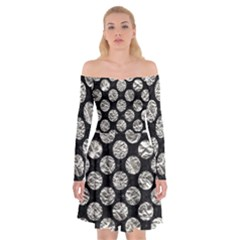 Circles2 Black Marble & Silver Foil (r) Off Shoulder Skater Dress