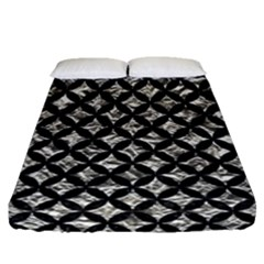 Circles3 Black Marble & Silver Foil Fitted Sheet (queen Size) by trendistuff