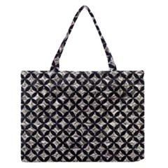 Circles3 Black Marble & Silver Foil Zipper Medium Tote Bag by trendistuff