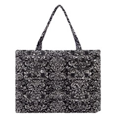 Damask2 Black Marble & Silver Foil (r) Medium Tote Bag by trendistuff
