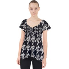 Houndstooth1 Black Marble & Silver Foil Lace Front Dolly Top
